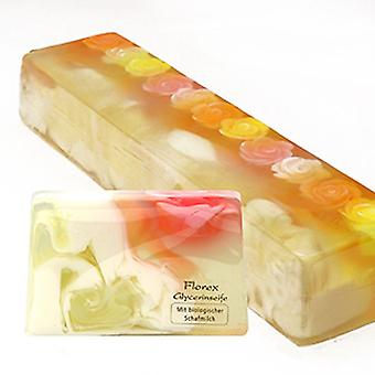 Handmade glycerin soap rose dream with luffa and organic sheep milk approx. 90-100 g