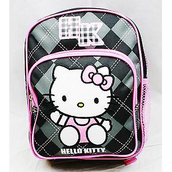 Mini Backpack - Hello Kitty - Black Checker New School Bag Book Girls 82092
