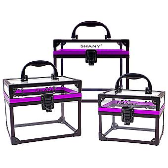 SHANY Clear Cosmetics and Toiletry Train Case - Extra Large Travel Makeup Organizer with Secure Closure and Black/Purple Accents