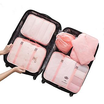 Set of organizing bags, 6 pieces-pink