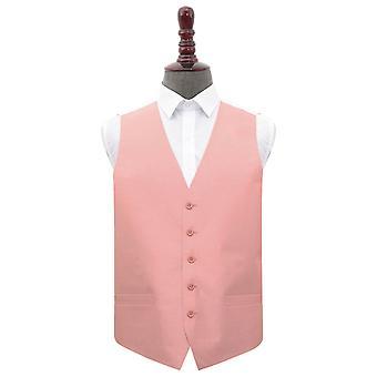 Peach rosa Plain shantung bröllop väst