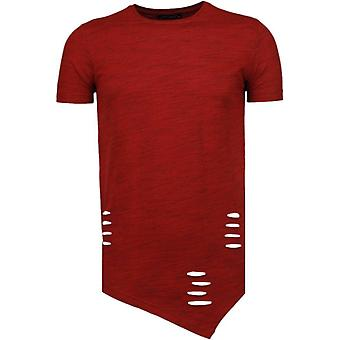 Sleeve Ripped-T-Shirt-Red