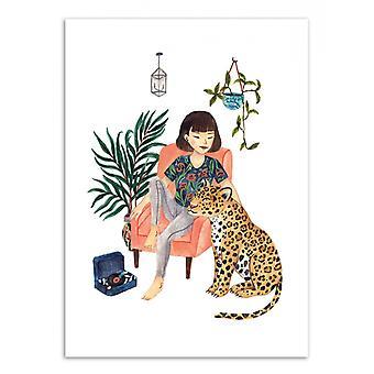 Art-Poster - Jaguar och flicka - Ploypisut