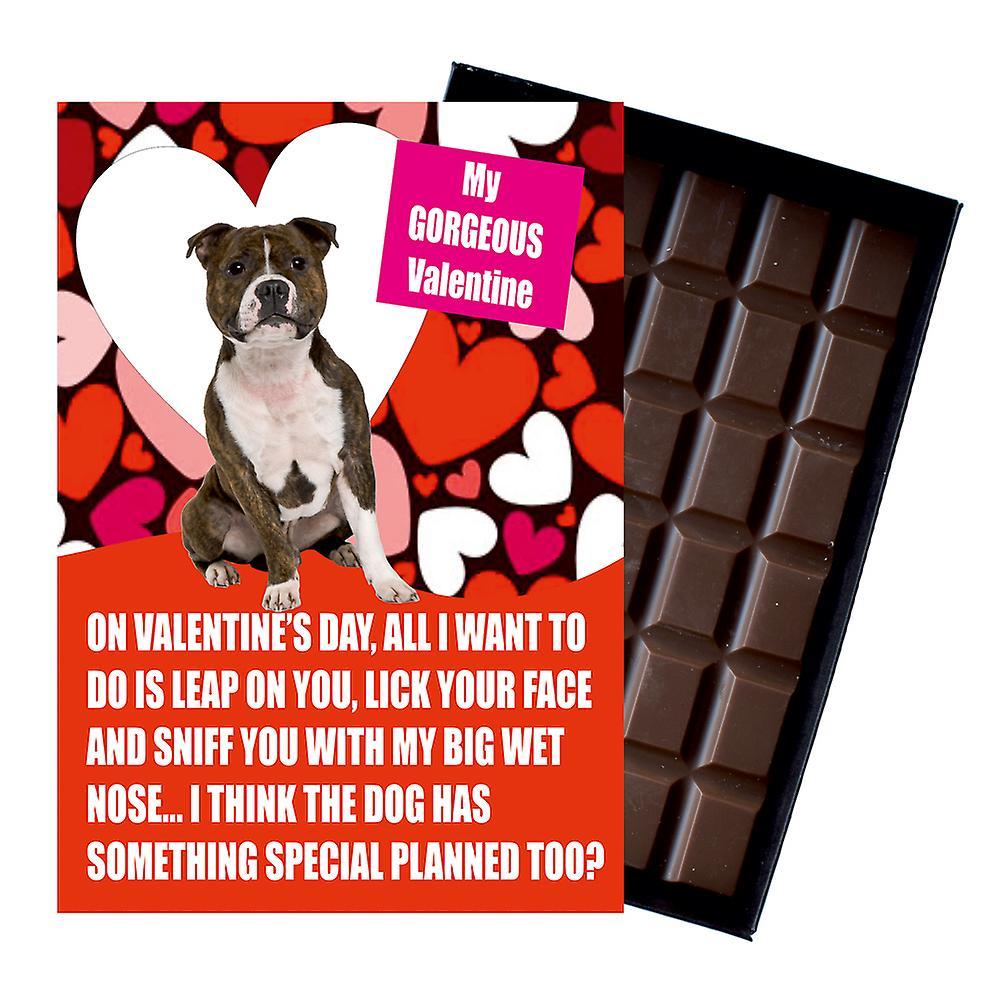 Novelty Belgian Chocolate Dog Lover Valentines Day Gift Staffy Greeting Card UK