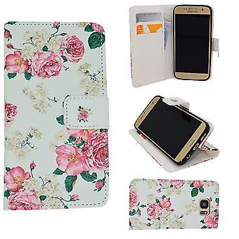 Ledertasche/Wallet-Samsung Galaxy S6-Flowers