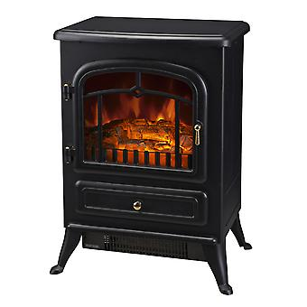 HOMCOM Freestanding Electric Fireplace Indoor Heater Glass View LED Log Burning Effect Flame Portable Fireplace Stove 950/1850W, Black