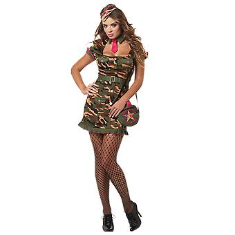 Womens Sexy Army Soldier Costume Uniform Fancy Dress