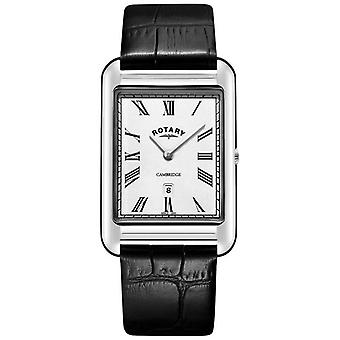 Rotary Mens Cambridge Date Square Black Leather Strap GS05280/01 Watch