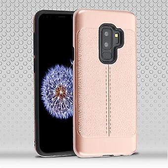 Rose Gold Leather Texture/Black Hybrid Protector Cover for Galaxy S9 Plus