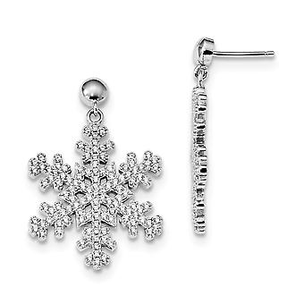 925 Sterling Silver Pave Rhodium plated and CZ Cubic Zirconia Simulated Diamond Brilliant Embers Snowflake Dangle Post E