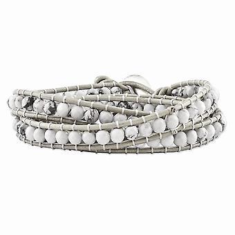 Weißem Howlith Perlen und Leder Multi-Wickel-Armband