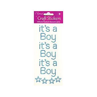 Pack de 3 It-apos;s A Boy Blue Jewel Letter Stickers for Baby Shower Crafts