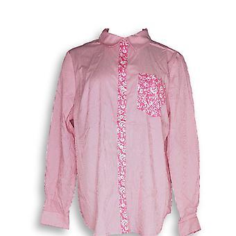 Susan graver vrouwen ' s top gestreepte Stretch Katoen Poplin lange roze A285434