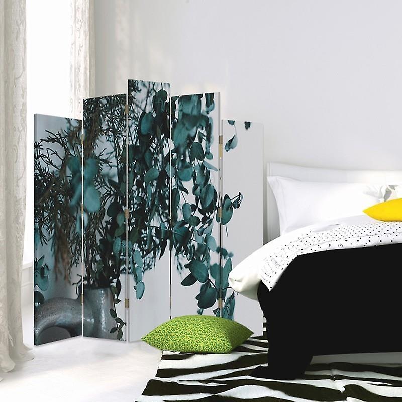 Diviseur de pièce décorative, 5 panneaux, double-sided, toile, usines dans un vase