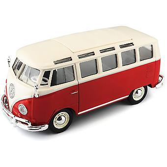 Maisto 1:25 Volkswagen van Samba, röd/vit Diecast modell