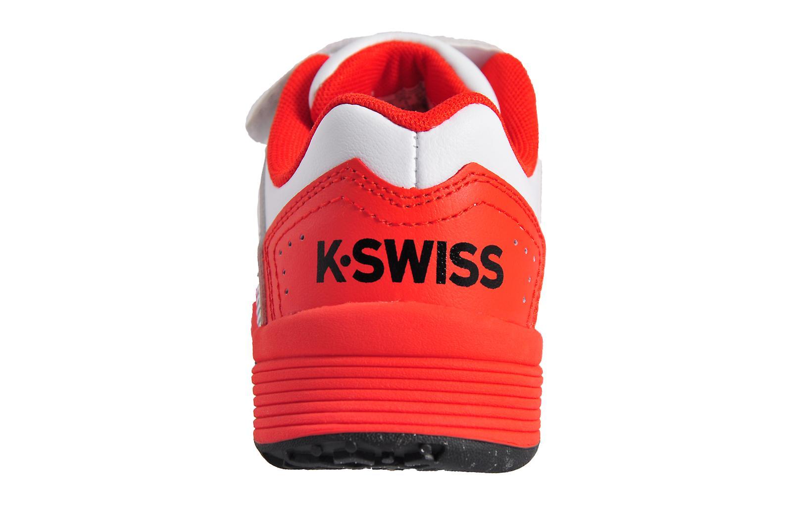 K Swiss Court Impact LTR Omni Strap Junior White / Fiery Red / Black