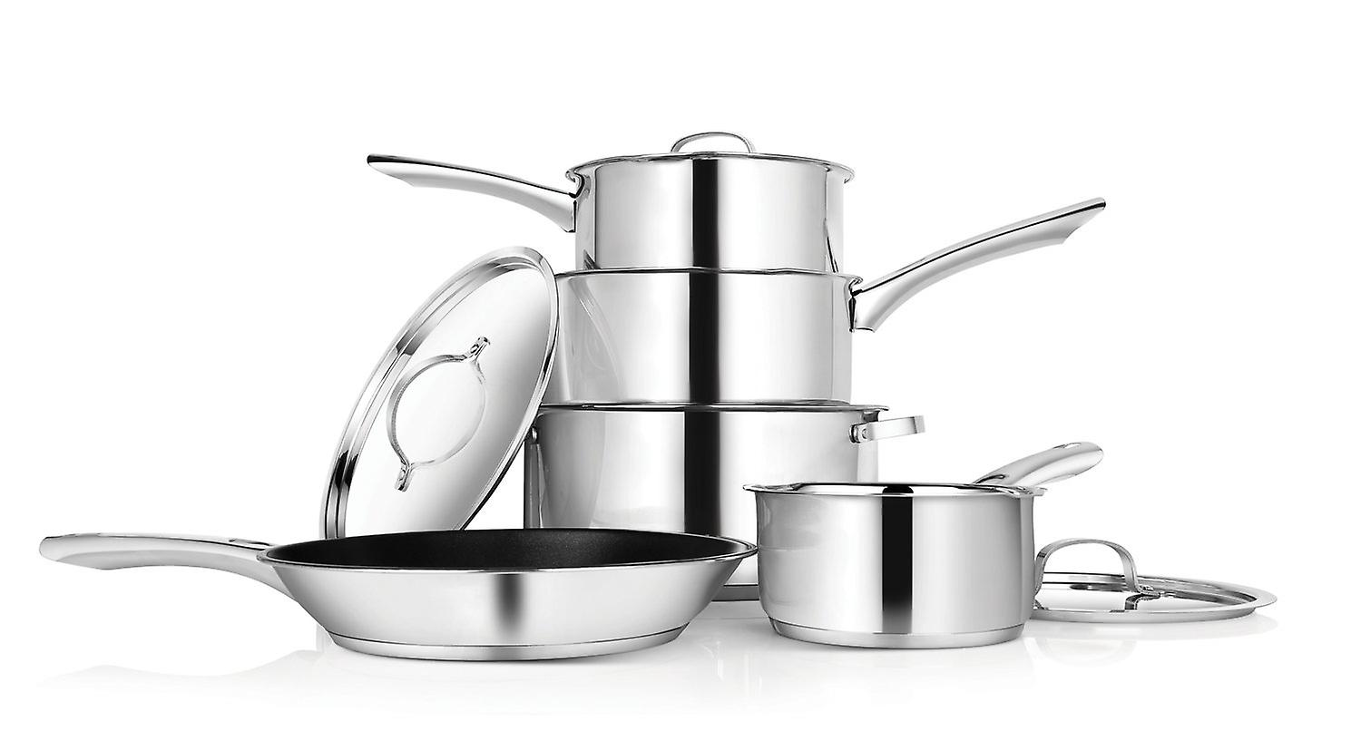 Penguin Home Professional Induction-Safe Cookware Set Steel 5 Pieces