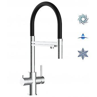5-vägsinox filter kran idealisk för Professionella gnistrande, släta och kylda vattensystem-borstad finish-svart-444