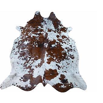 6.5' Brown and White Brindled Cowhide Rug