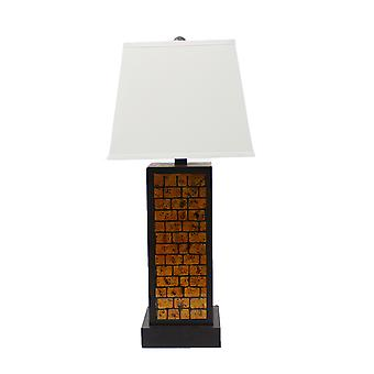 "13"" x 15"" x 30.75"" Black Metal With Yellow Brick Pattern - Table Lamp"