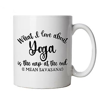 What I Love About Yoga Mug | Yoga Yogi Sutra Mantra Stress Relief Relax Pose | Savasana Stretch Spiritual Healing Transcend Chi | Yoga Cup Gift