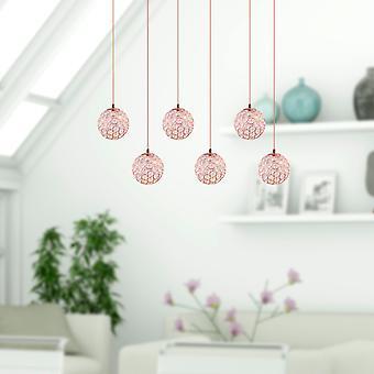Modern LED Ceiling Light Clear Glass Dining Room 6 Pendant Lamp Rectangular Canopy