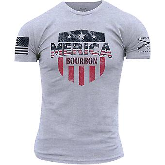 Grunt Stile Merica Bourbon Scudo T-Shirt - Heather Grigio