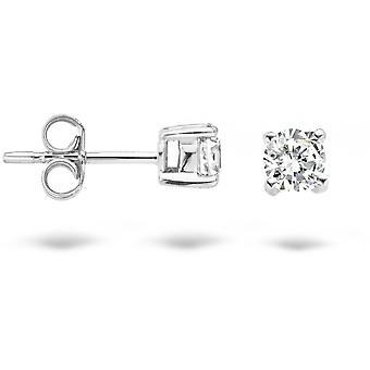 Earrings Blush 71289WZI - White gold and zirconium oxide 3 mm set claw