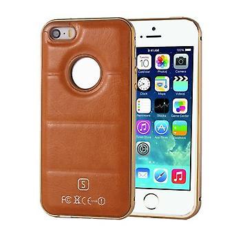 For iPhone SE (første generasjon), 5s og 5 tilfelle, separerbart skinndeksel, brun