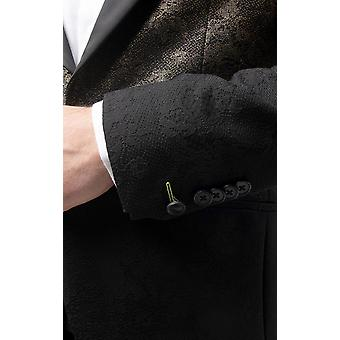 Twisted Tailor Mens Black Tuxedo Jacket Skinny Fit Gold Glitter Pattern