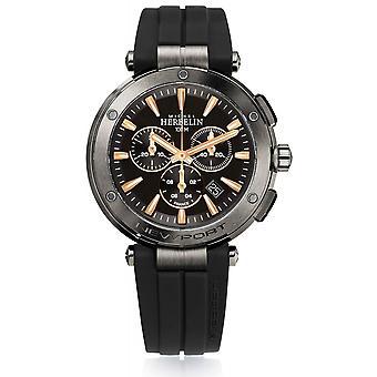 Michel Herbelin 37688-G33TCA Men's Newport Chronograph Black Strap Wristwatch