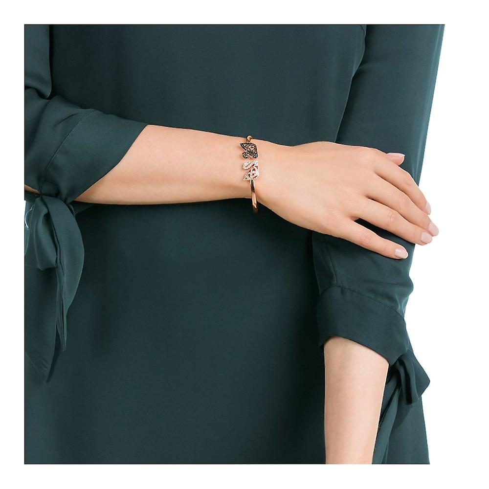 Swarovski Facet Swan Rose Gold Tone Plated With Clear & Black Crystal Bangle