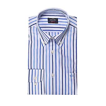 Paul & Shark Paul And Shark Long Sleeve Shirt White & Blue Stripe