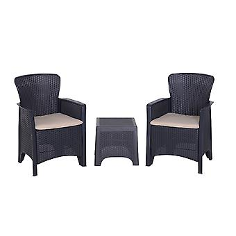 Outsunny 3 PCs Rattan Effect Bistro Set Outdoor Wicker Weave 2 Chairs 1 Coffee Table with Cushions Garden Patio Furniture - Graphite