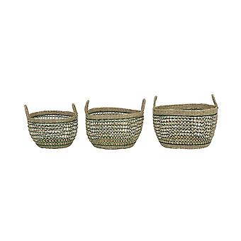 Light & Living Basket Set Of 3 30x20 And 35x22 And 40x24cm Tarac Seagrass Nat.-Green