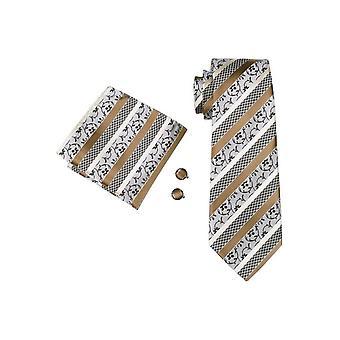 JSS Mens Guld, Grädde och silver randig 100% Silk Pocket Square, Cufflink och Tie Set