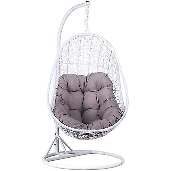 Hanging Rattan Swing Chair Egg Shaped Chair With Armrest White Outdoor/Indoor Garden Patio Furniture