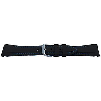 Rubber watch strap for rolex gmt oyster & omega seamaster black/light blue stitched 20mm