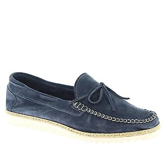 Leonardo Shoes Men's handmade slip-on loafers shoes jeans suede calf leather