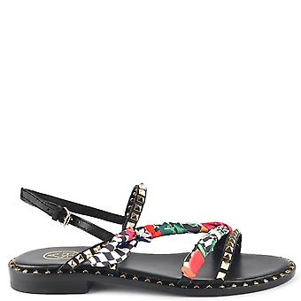 Ash PASHA Sandals Black Leather & Printed Silk