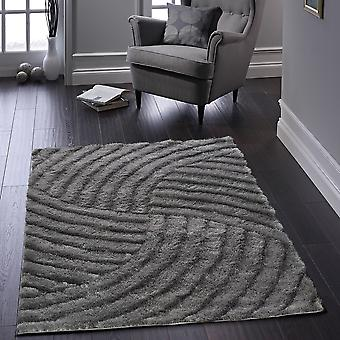 Dallas Carved Shaggy Rugs In Charcoal