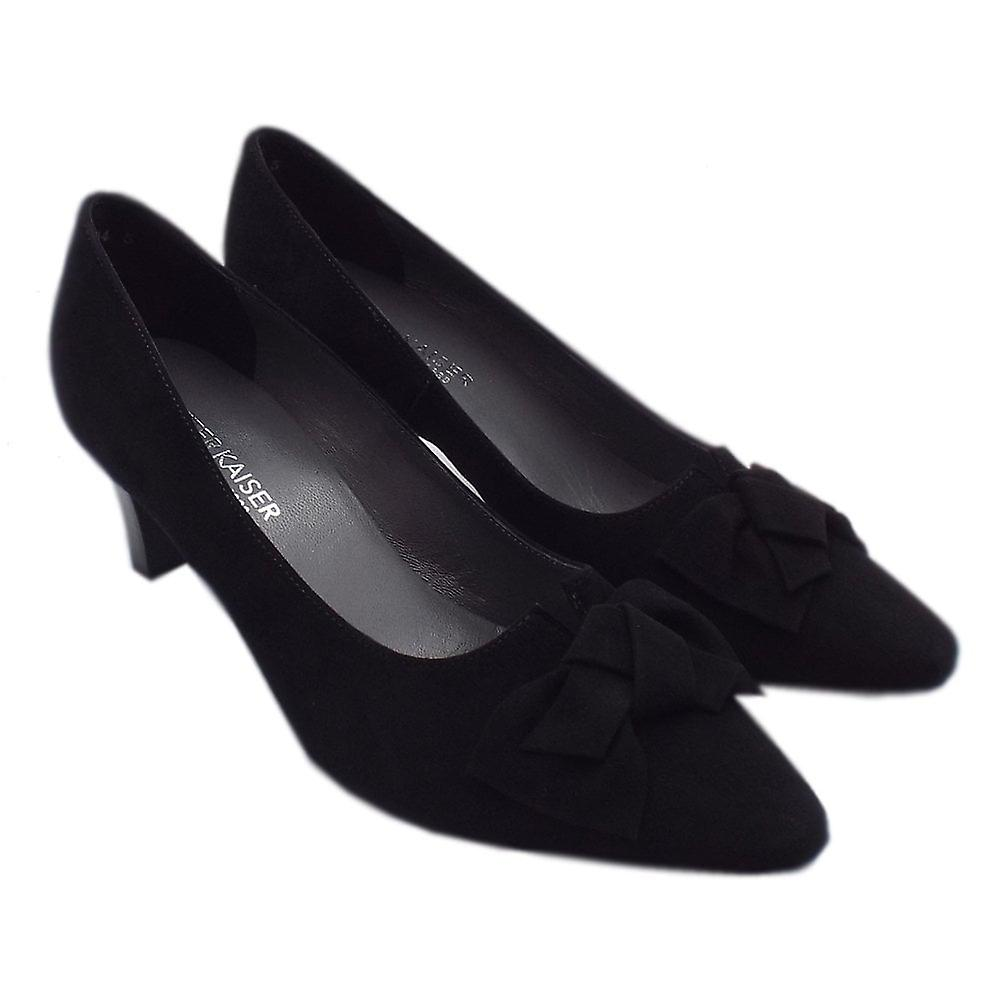 Peter Kaiser Mallory Mid Heel Pointed Toe Court Shoes In Black Suede Rhqeh