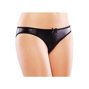 Plus Size Lingerie Black Wet Look Ruched Back Crotchless Panty
