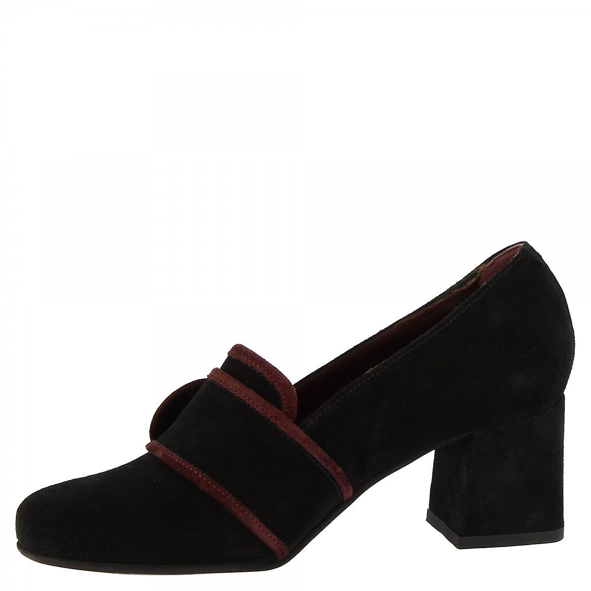Leonardo Shoes Women-apos;s Talons Faits À La Main Orteil Carré Escarpins Chaussures Cuir De Daim Noir