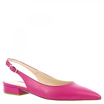 Leonardo Shoes Women's handmade pointy slingback ballet flats fuchsia leather