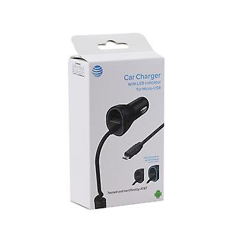 AT&T 3.4A Single USB and Corded Micro USB Car Charger