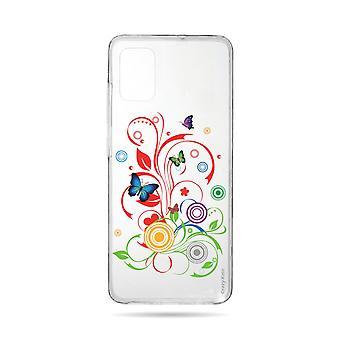 Runko Samsung Galaxy A71 joustava perhosia ja piireissä