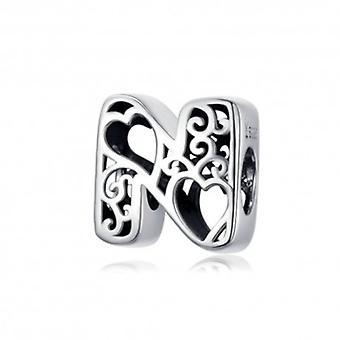 Sterling Sølv alfabet charme med hjerter Brev N - 6268