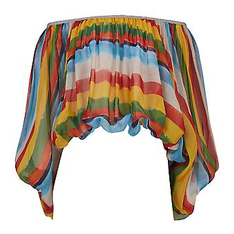 Dolce & Gabbana Short Blouse In Silk Chiffon With Painted Stripes Print