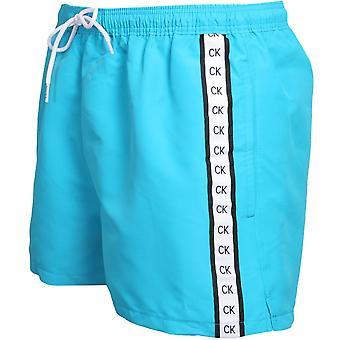 Calvin Klein Premium Logo Tape Athletic-Cut Swim Shorts, Hawaiian Ocean Blue